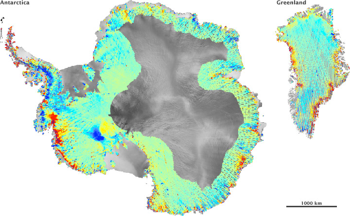 Kartet viser hvor isen har økt øker eller minket i tykkelse i tidsrommet 2003 -2007. I områder som er røde, oransje eller gule minket isen. I de grønne og blå økte den. (Kilde: NASA)