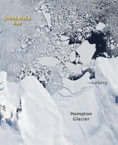Hamptonbréen i Antarktis kalver