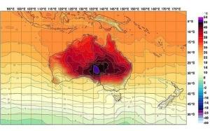 Temperatur i Australia i januar 2013. Kilde: Australias meteorologiske institutt