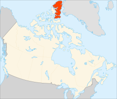 Ellesmere Island er markert med rødt. (Kilde: Wikipedia Commons)